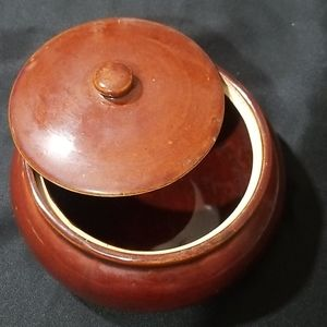 Vintage ceramic bean pot,crock top,casserole top.